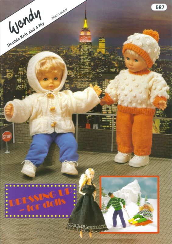 Wendy Knitting Patterns For Dolls : Wendy DRESSING UP FOR DOLLS Knit & Crochet pattern book 587