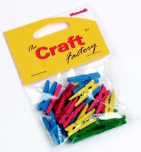 Wooden Clothes Pegs COLOURED