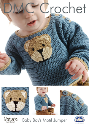 15094 DMC Baby Boys Bear Motif Jumper Natura Crochet Pattern