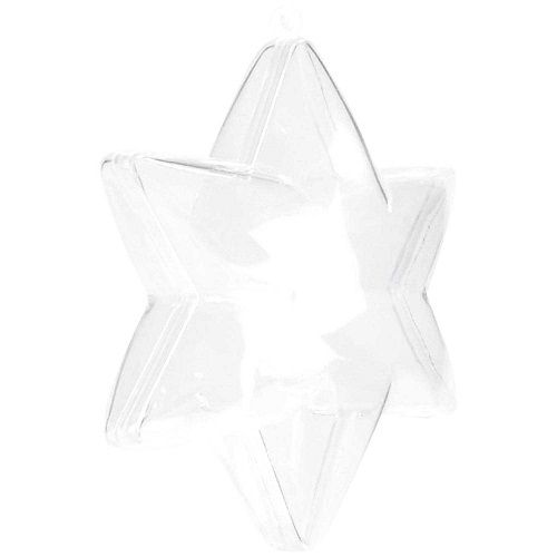 2-part 5 Point Acrylic STAR - Plastic Transparent 8cm
