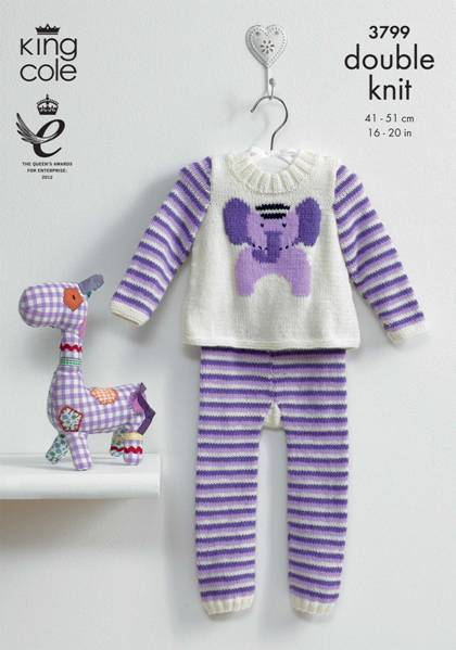 3799 King Cole Baby Elephant Leggings And Tunic Knitting Pattern