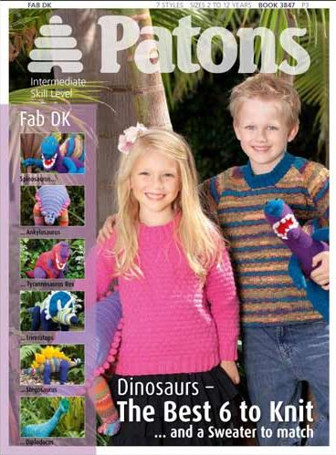 3847 Patons DINOSAURS and Sweater to match Knitting Book