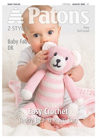 3895 Patons Easy Crochet Teddy Bear Pram Rug Fab DK Pattern REDUCED £1