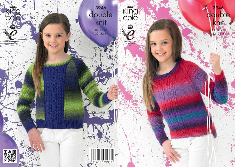 3946 King Cole Riot DK Sweaters Knitting Pattern