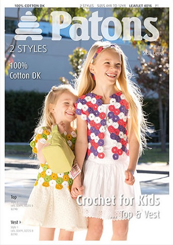 4016 Patons Cotton DK Top Vest Headband for Kids Crochet Pattern