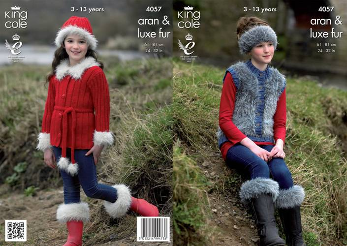 4057 King Cole Luxe Fur Aran Jacket Gilet Boot Toppers Hat and Headband Knitting Pattern