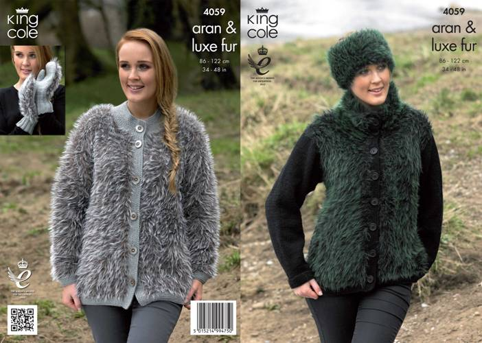 4059 King Cole Luxe Fur Aran Jacket Mittens And Headband