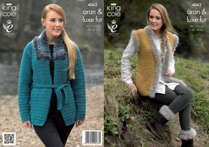 4062 King Cole Luxe Fur Aran Jacket Gilet And Boot Toppers Knitting