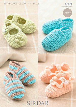 4509 Sirdar Snuggly 4ply Baby Bootees Crochet Pattern