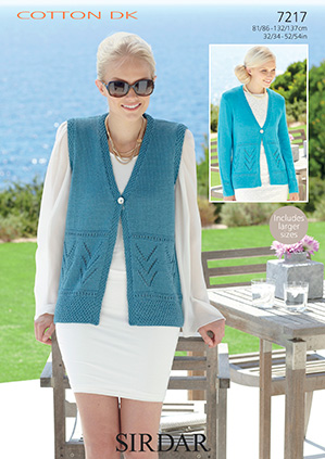 7217 Sirdar Cotton DK Cardigan and Waistcoat Knitting Pattern