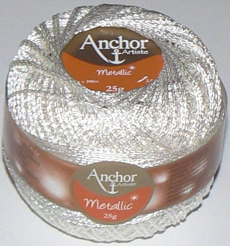 Anchor Artiste Metallic Crochet No.5 Thread 304 WHITE