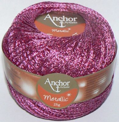Anchor Artiste Metallic Crochet No.5 Thread 308 PINK