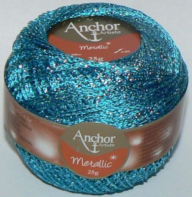 Anchor Artiste Metallic Crochet No.5 Thread 312 Turquoise