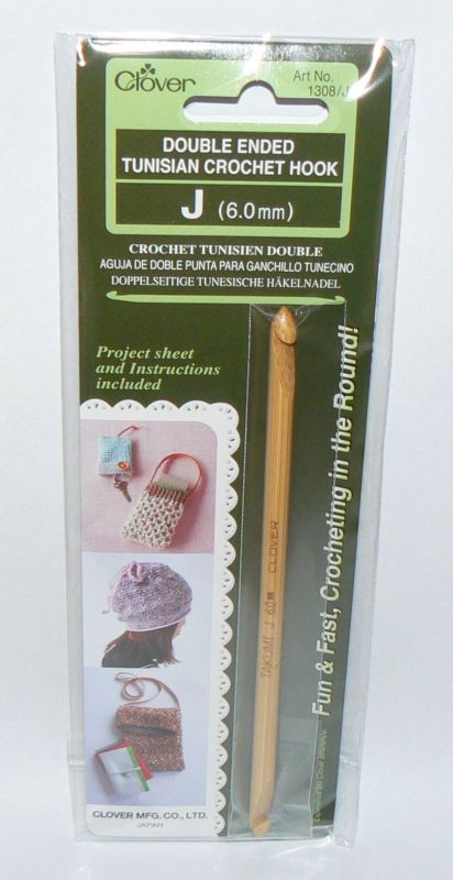 CLOVER 1308//J 1308 J TUNISIAN CROCHET HOOK DOUBLE ENDED SIZE J