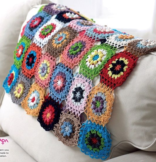 Crochet Flower Motif Throw Colour Pack KIT Giza 4ply - FREE Pattern