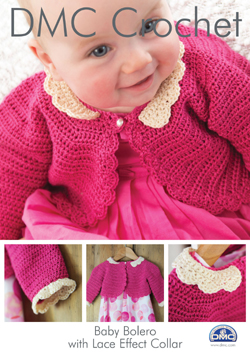 DMC Baby Bolero with Lace Effect Collar Crochet Pattern 15043L/2