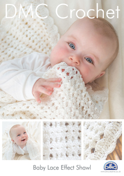 DMC Baby Lace Effect Shawl Crochet Pattern 15046L/2