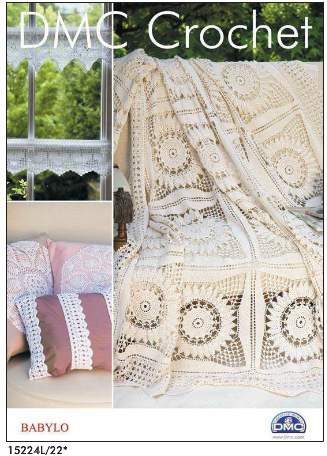 DMC Crochet Babylo Pattern Booklet 2 Window Runner Cushion Trims and Throw