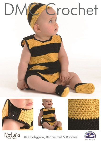 DMC Natura BEE Babygrow Beanie Hat Bootees Crochet Pattern - Purplelinda Crafts