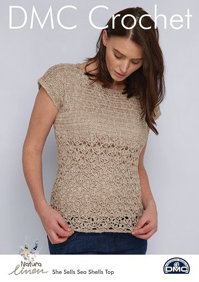 DMC Natura Linen Sea Shells Top Crochet Pattern