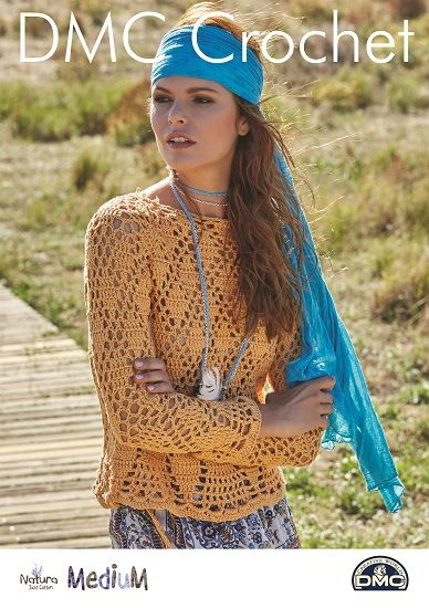DMC Natura MEDIUM Long Sleeve Top Crochet Pattern 15372