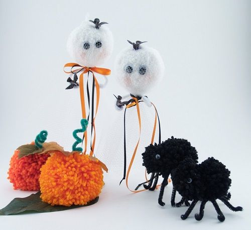 FREE Pattern Halloween Pom Pom Pumpkin Ghost Spider