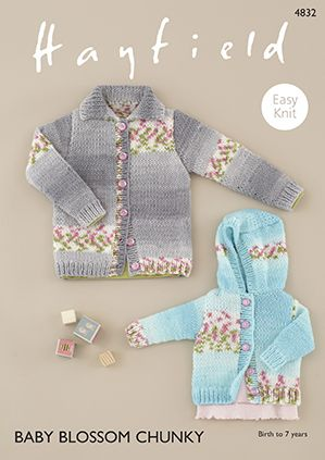 Hayfield Baby BLOSSOM Chunky Cardigans Knitting Pattern 4832