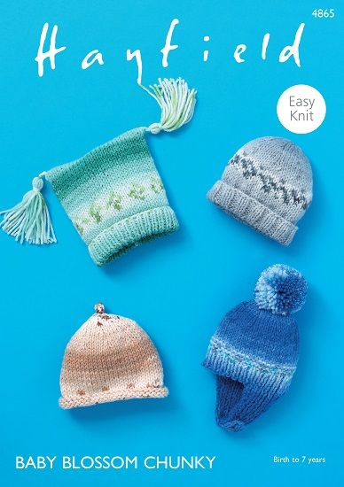 Hayfield Baby BLOSSOM Chunky Hats Knitting Pattern 4865