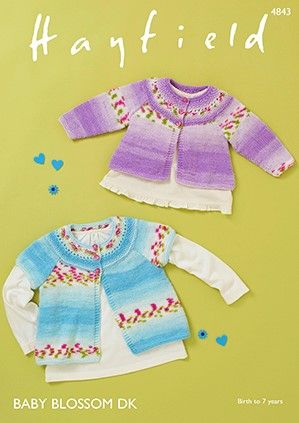 Hayfield Baby Blossom DK Cardigans Knitting Pattern 4843