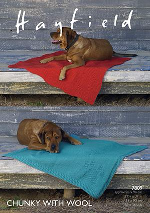 Hayfield Chunky Dog Blankets Knitting Pattern 7809