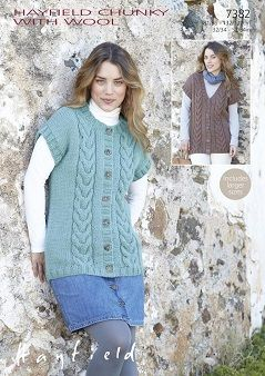 Hayfield Chunky Gilets Knitting Pattern 7382