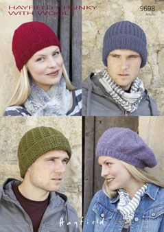 Hayfield Chunky Hats Knitting Pattern 9698