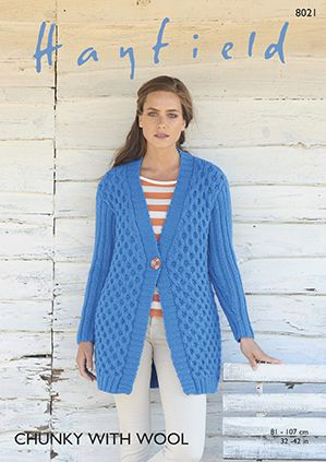 Hayfield Chunky Jacket Knitting Pattern 8021