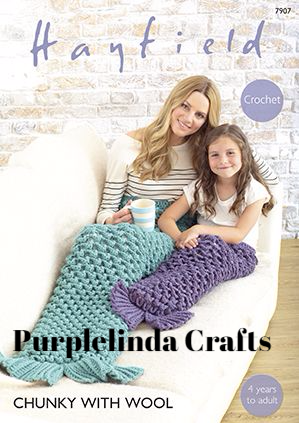 Hayfield Chunky Mermaid Tail Blankets Crochet Pattern 7907