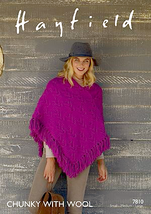 Hayfield Chunky Poncho Knitting Pattern 7810