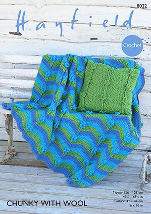 Hayfield Chunky Throw & Cushion Crochet Pattern 8022