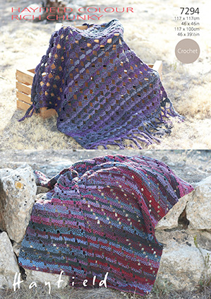 Hayfield Colour Rich Chunky Blankets Crochet Pattern 7294