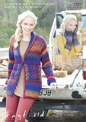 Hayfield Colour Rich Chunky Jacket and Mittens Knitting Pattern 7297