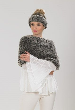 James C Brett Chinchilla Cowl Cape Knitting Pattern JB542