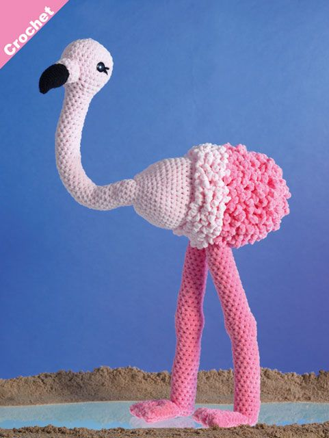 James C Brett Flutterby FLAMINGO Crochet Pattern JB404
