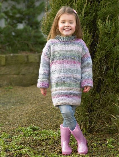cb8472de292b James C Brett Marble Chunky Childs Long Sweater Knitting Pattern JB499