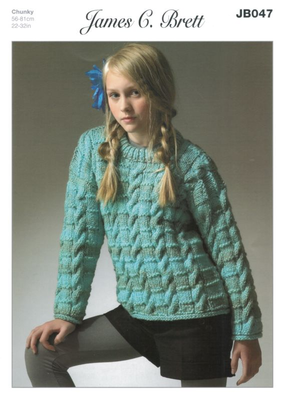 9d29e29102af James C Brett Marble Chunky Childs Sweater Knitting Pattern JB047