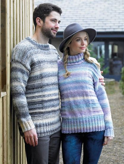 James C Brett Marble Chunky Mens and Ladies Sweater Knitting Pattern JB369