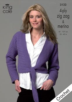 King Cole 4-ply Cardigans Crochet Pattern 3122