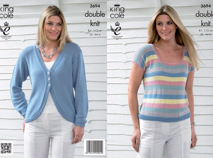 King Cole Bamboo Cotton Stripe Sweater And Cardigan Knitting Pattern