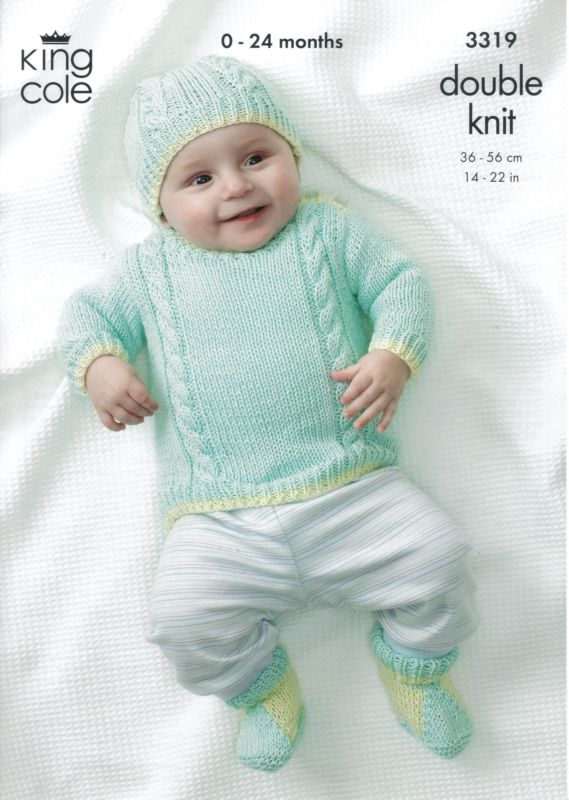 King Cole BOYS OWN Baby Bamboo/Cotton DK Knitting Pattern 3319