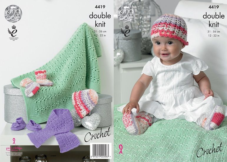 King Cole Cherish DK Baby Hat Scarf Shoes Socks Blanket Crochet Pattern 4419 Cherished