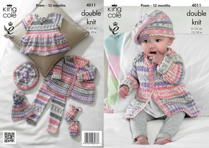 King Cole Cherish Dk Baby Set Girl Knitting Pattern 4011