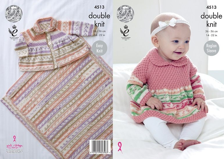 King Cole Cherish Dk Baby Sweater Cardigan Blanket Knitting Pattern 4513