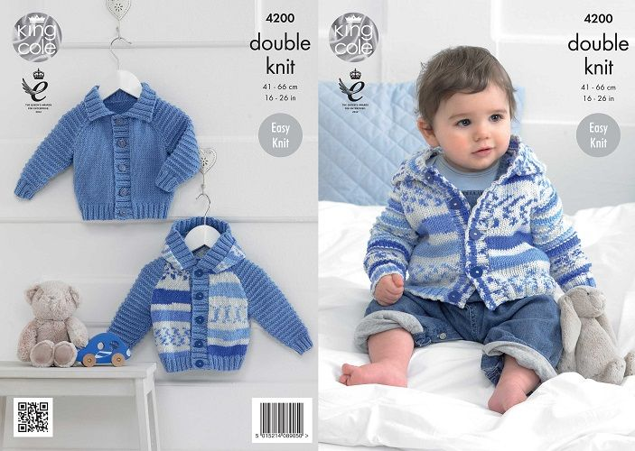 King Cole Cherished Dk Baby Boys Cardigans Knitting Pattern 4200